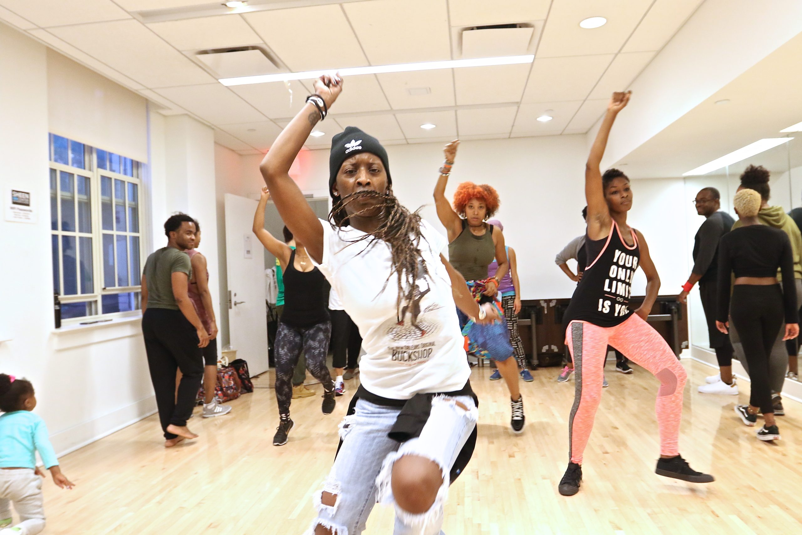 Michelle Gibson leads the New Orleans Original Buckshop workshop at The Sheen Center, East Village, NYC.